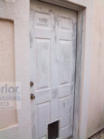 Cleaning Mold Mildew on door of Stucco House 1 before