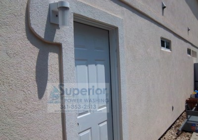 Cleaning Mold Mildew on door of Stucco House 1 after